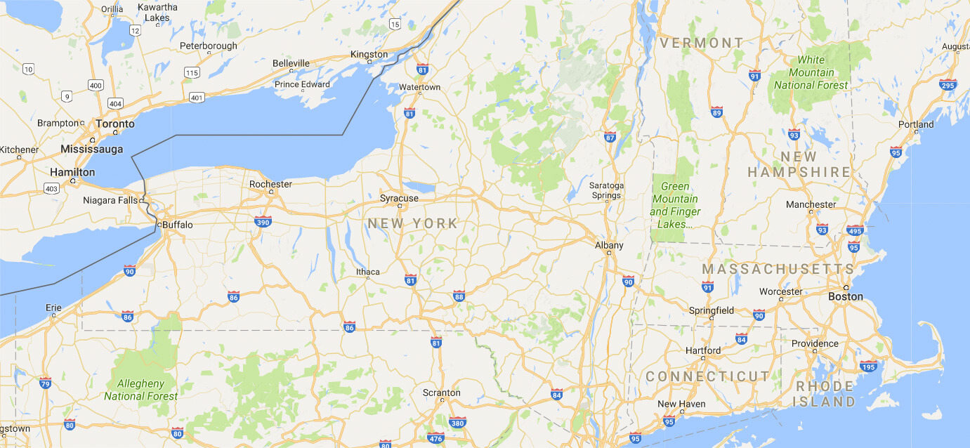 Map of NY, MA, VT, CT, RI & PA