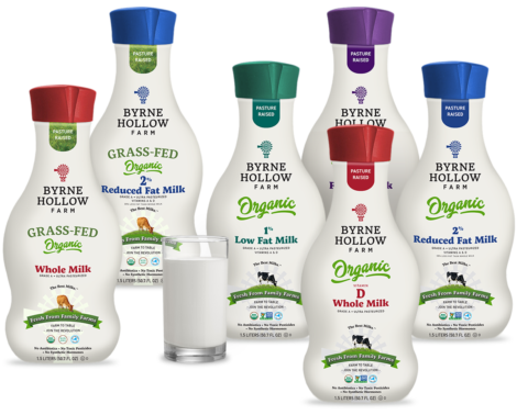 1.5 Liter Bottles of Byrne Hollow Farm Organic Whole Milk, Organic 2% Milk, Organic 1% Milk, Organic 0% Milk, 100% Grass-Fed Organic Whole Milk , 100% Grass-Fed Organic 2% Milk and glass of milk