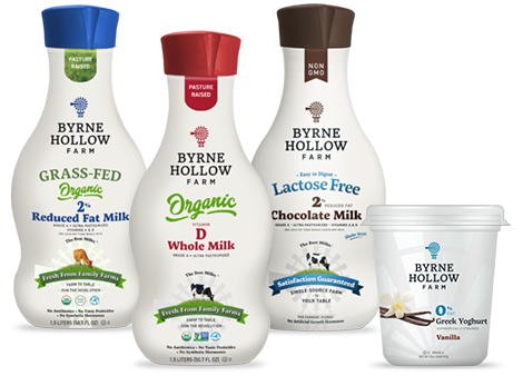 1.5 liter bottles of Byrne Hollow Farm Organic Grass-Fed 2% Reduced Fat Milk, Organic Whole Milk, Lactose Free 2% Chocolate Milk and 1 lb container of 0% Fat Greek Yoghurt, yogurt